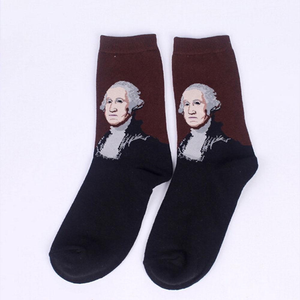 9201 Fashion Retro Vintage Unisex Women Men Art Painting Funny Socks Stocking