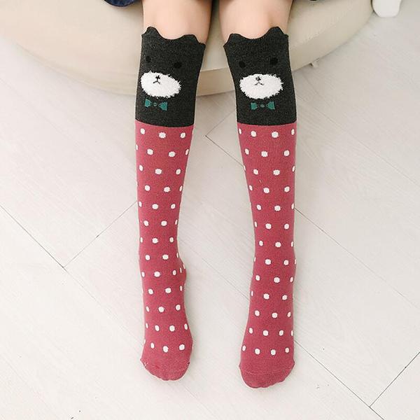 D85C Girls Kids Knee High Length Long Socks Animal Cartoon Warm Multipattern