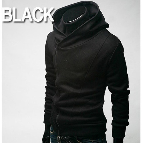 Korea Mens Stylish Oblique Front Zipper Hoodies Tops Jackets Coats Black L