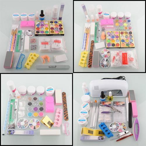 Acrylic Nail Kit Supplies: Nail Art Kit Set Choose:12/24/36 Acrylic Nail Powder UV