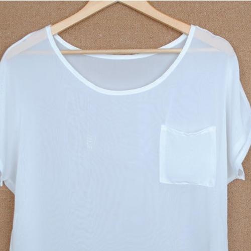 Womens Girls Chiffon Blouse Sheer Top Batwing Short Loose T Shirt 13COLOR Shirt