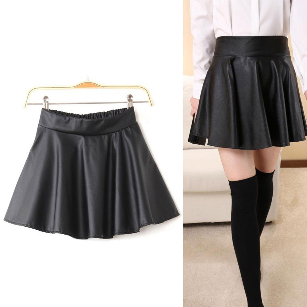 Womens Vogue Black Faux Leather Mini Skirt High Waist Pleated ...