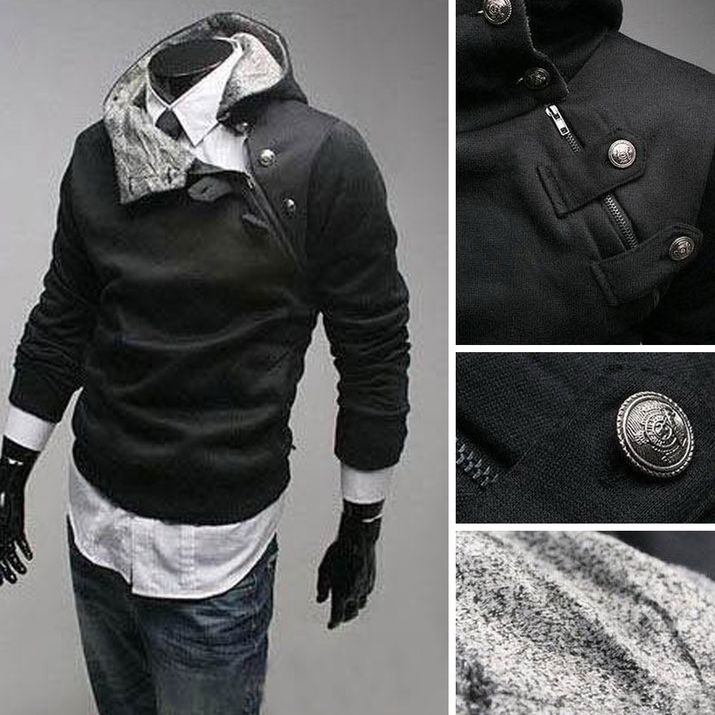 New Men's Slim Fit Top Hoodies Jackets Coat Outwear Jumper 4size Black/White