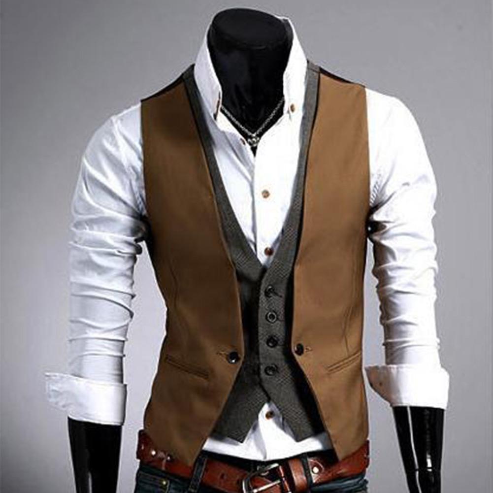 New Men's Casual Top Designed V-neck Slim Fit Buttons Vest Waistcoat Skinny