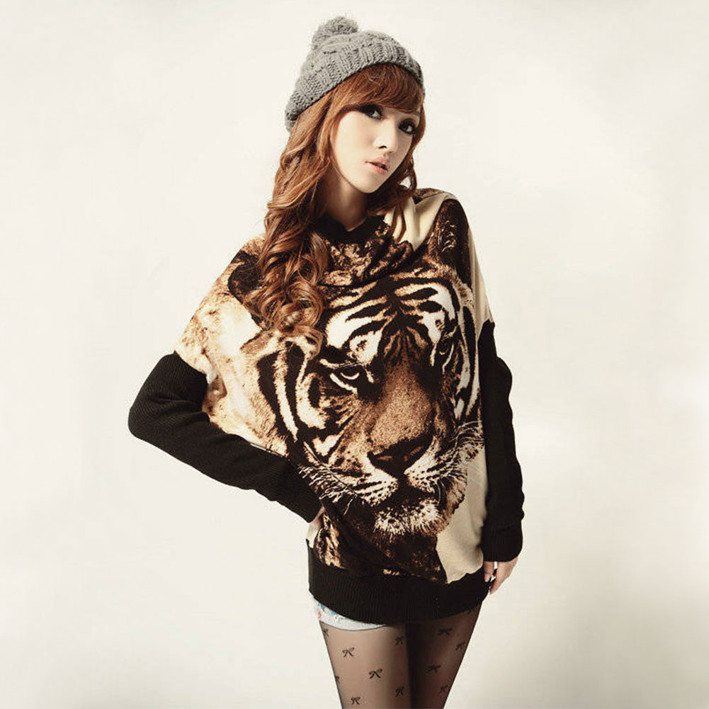 On Sale!! Low Price!! Women's Batwing Sleeve Knit Tiger Print Long Sleeve Tops