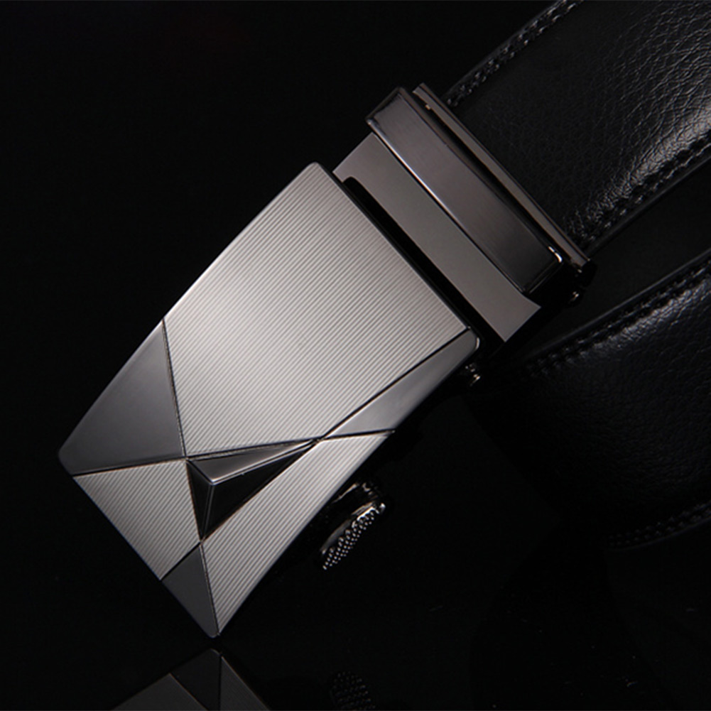 New-Fashion-Mens-Black-Automatic-Buckle-Genuine-Leather-Waist-Belts-110cm-120cm
