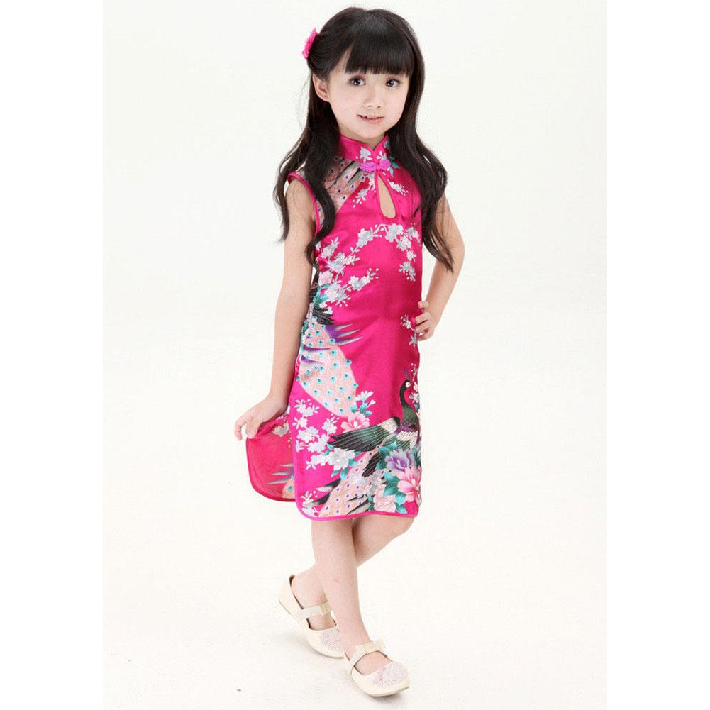 brand stylish chinese kid child girl baby cheongsam dress