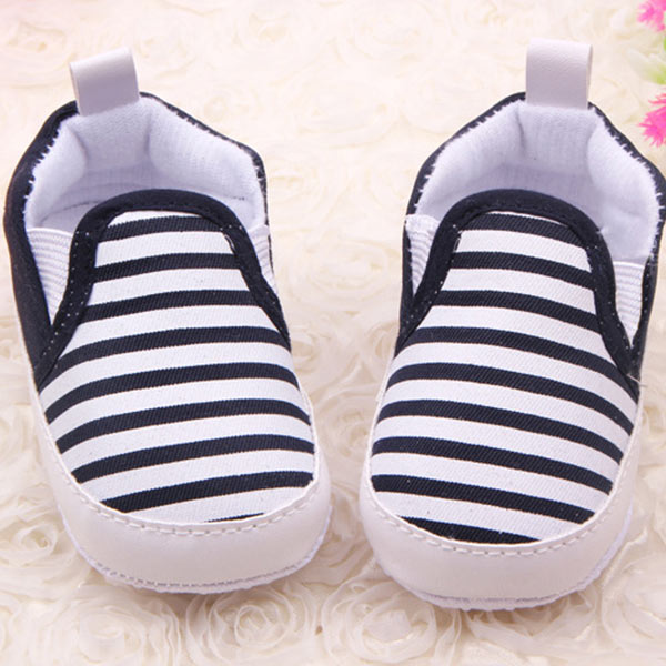 Baby Kids Toddler Unisex Boys Girls Cotton First Navy Stripe Cloth Shoes