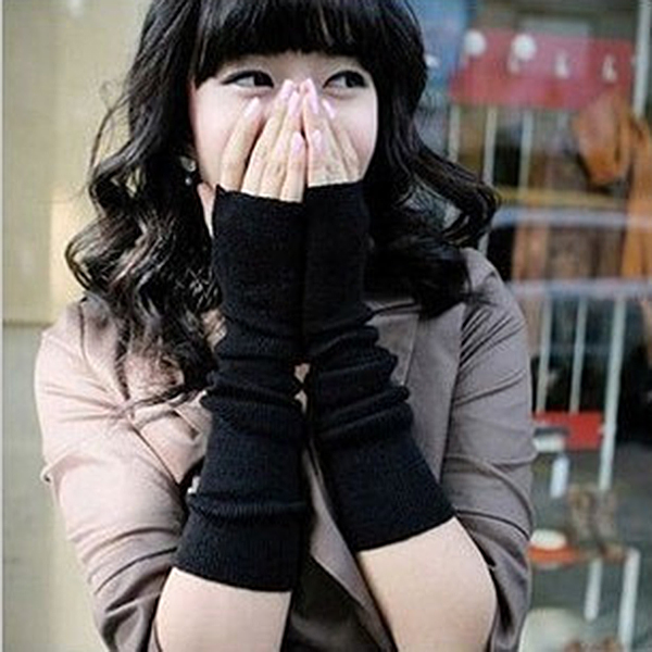 Women Girl Lady Knitted Wrist Long Fingerless Mitten Gloves Soft 2color