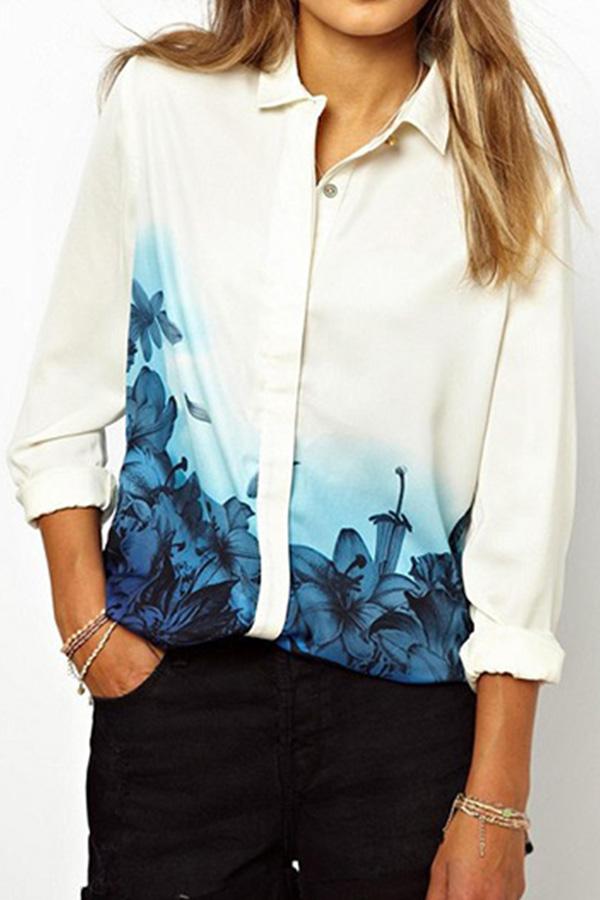 Womens Flower Print Chiffon Long Sleeve Blouse Oversized Collar T-shirt Tops