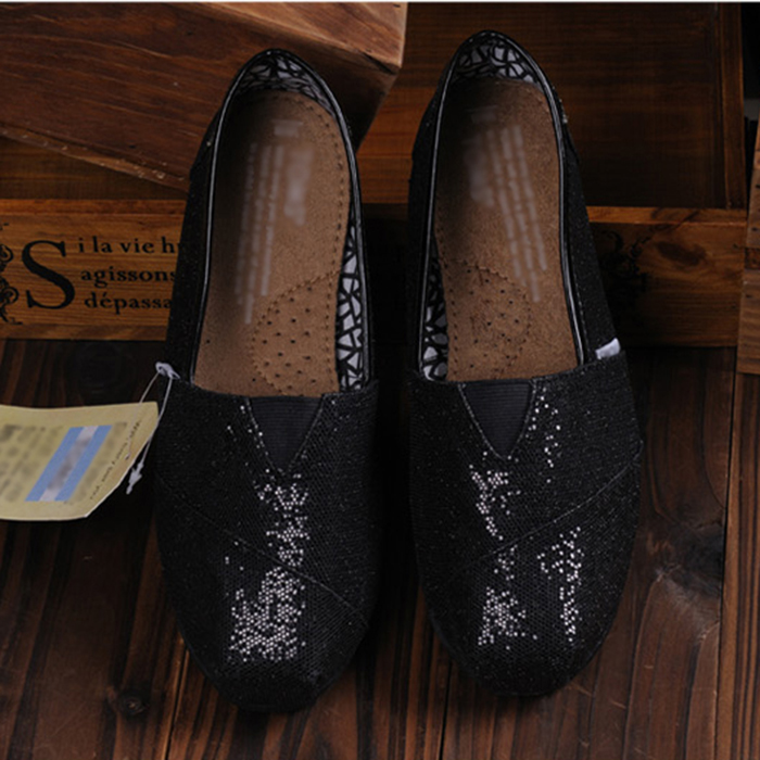 New Womens Slip On Sequin Flat Loafers Walking Single Shoes Moccasins Solid
