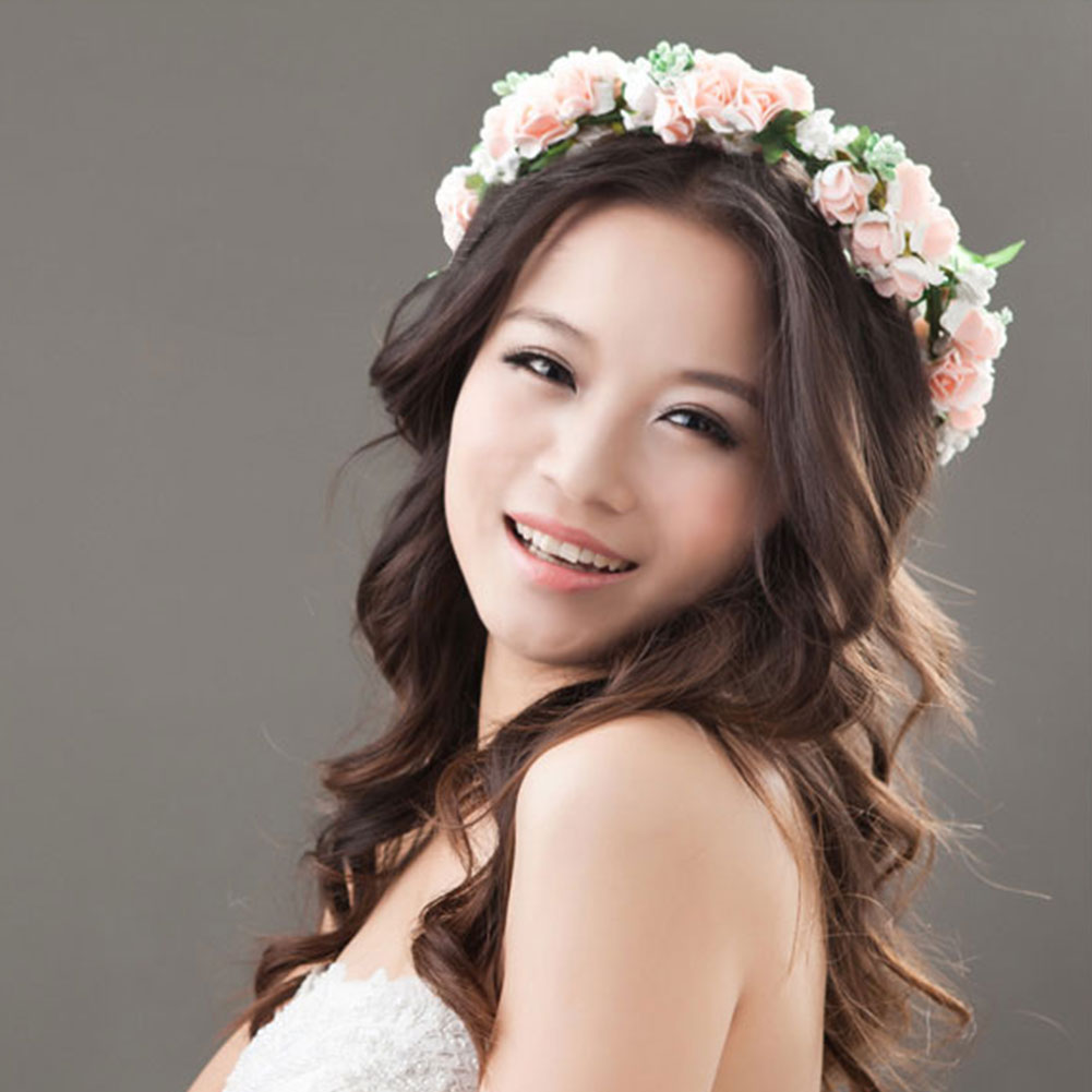 flower garland floral bridal headband hairband wedding prom hair