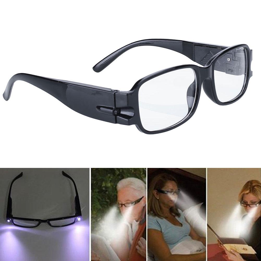 6CE9-Rimmed-Reading-Eye-Glasses-Eyeglasses-Spectacal-LED-Light-Black-Portable