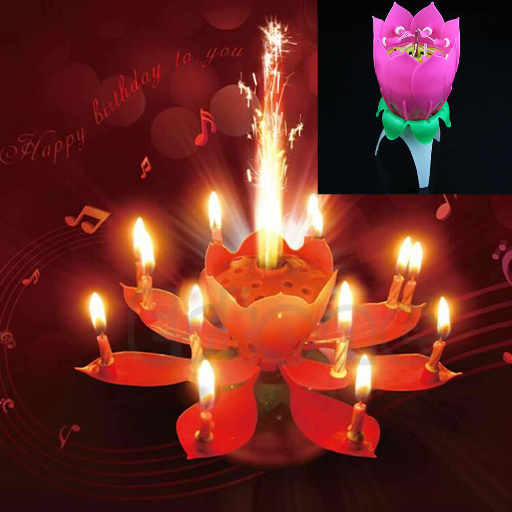 Musical Lotus Flower Happy Birthday Party Candle Lights Cake