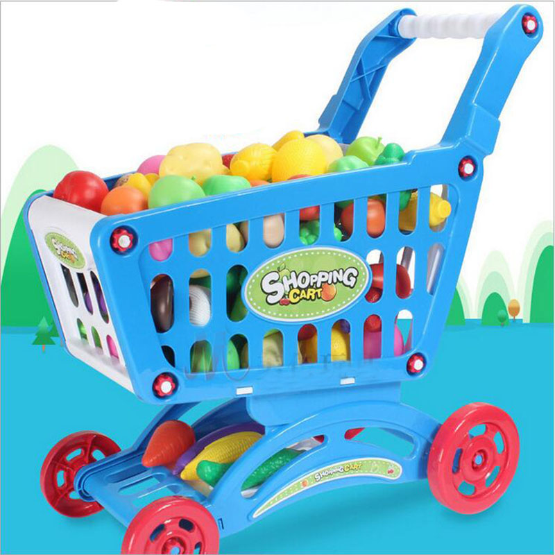 9140-Kid-Childrens-Trolley-Cart-Basket-Role-Play-Toy-Set-Plastic-Fruit-Xmas