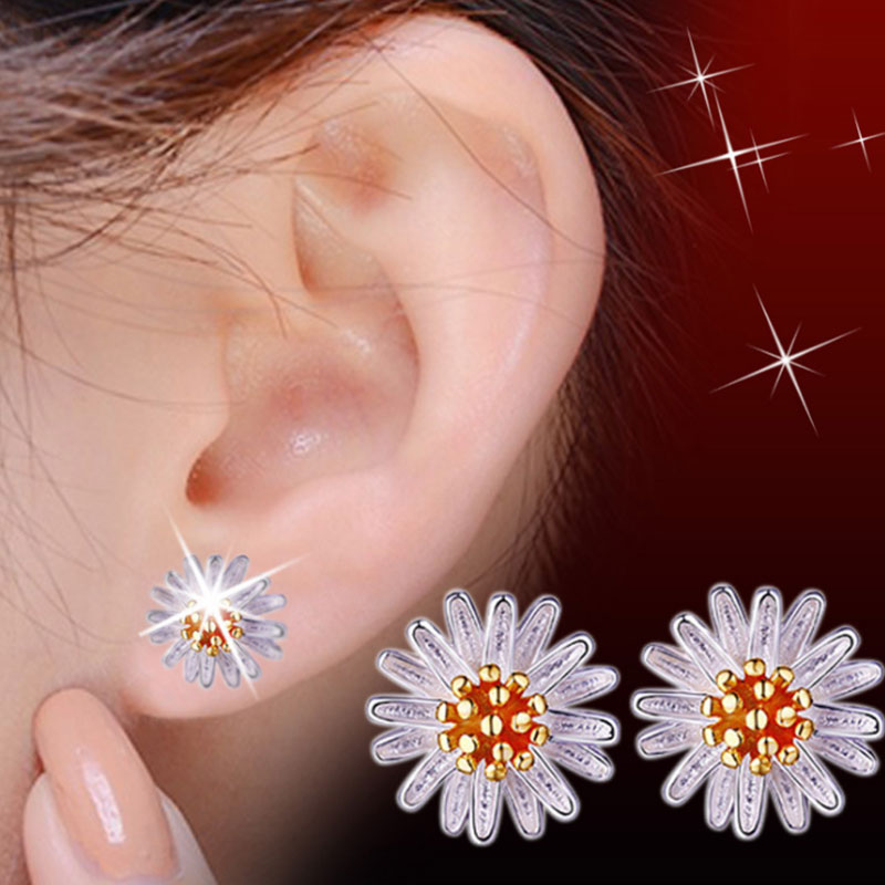4ECE-Elegant-Women-039-s-Flower-Daisy-Shaped-Ear-Piercing-Studs-Earrings-Jewelry