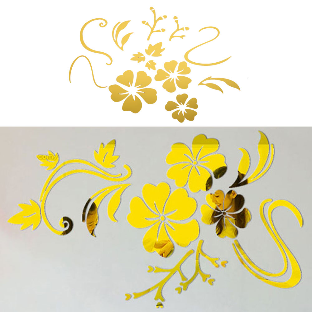 Details about EA0F Fashion Flower Vines Mirror Wall Stickers DIY Decoration 3D Stereo Room